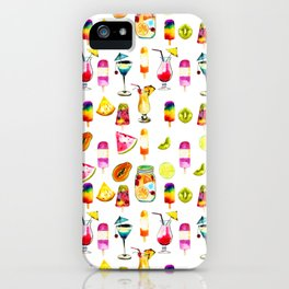 Watercolor Summer Fresh Fruits Cocktails Ice-cream iPhone Case