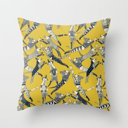 dog party indigo yellow Throw Pillow