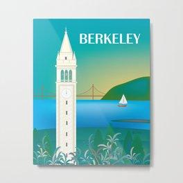 Berkeley, California - Skyline Illustration by Loose Petals Metal Print