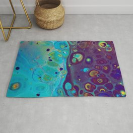 Where Blues Collide - Abstract Acrylic Art by Fluid Nature Rug