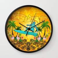surfing Wall Clocks featuring Surfing by nicky2342