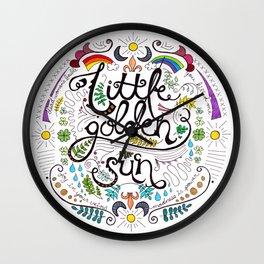Little Golden Sun Wall Clock