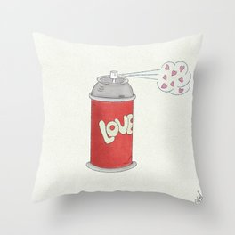 Spread Love - Red and Pink, Spray Can, Love Illustration Throw Pillow
