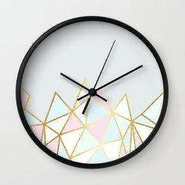 Gold & Pastel Geometric Pattern Wall Clock