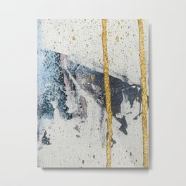 Synergy: a minimal, abstract mixed-media piece in gold, blue, and purple by Alyssa Hamilton Art Metal Print