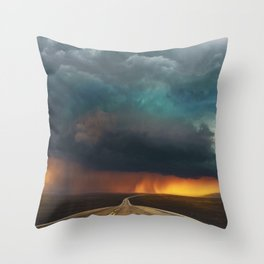 Riders on the Storm (Route 66) - The Loneliest Road in America Throw Pillow