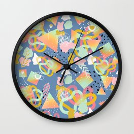 Rainbow Prism Candy Abstract Pattern Blue  Wall Clock