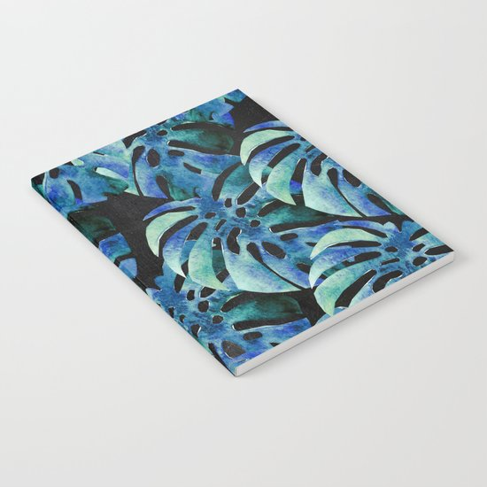 Monstera Pattern Blue On Chalkboard Notebook