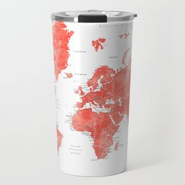 Living coral watercolor world map with cities Travel Mug