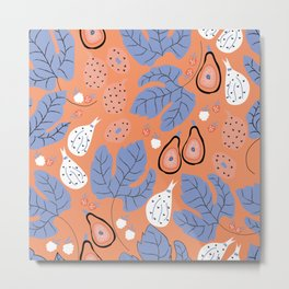 Summer Dive Collection // Fruits & large leaves // Seamless Pattern- Peach Metal Print
