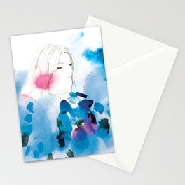 Into the deep blue night Stationery Cards