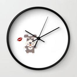 I Kissed A Schnauzer And I Liked It Cute Dog Kiss Gift Idea Wall Clock