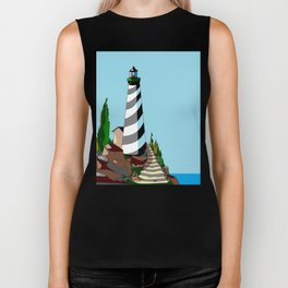 A Lighthouse with Black and White Stripes on a Sunny Day Biker Tank