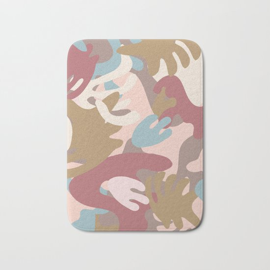Abstract Leaf Motif Bath Mat