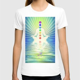 In Meditation With Chakras - Blue Ocean T-shirt