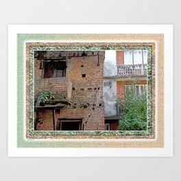 VINTAGE RED BRICK WALLS AND WINDOWS BHAKTAPUR NEPAL Art Print