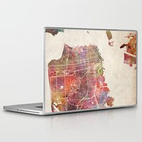 san francisco Laptop & iPad Skins featuring San Francisco map by MapMapMaps.Watercolors