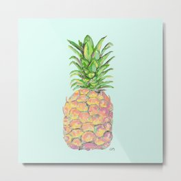 Mint Brite Pineapple Metal Print