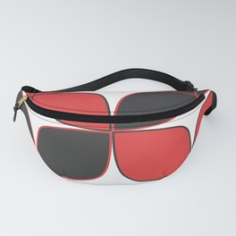 Mid-Century Modern Art - Flower Pattern Black Red Fanny Pack