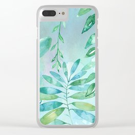 Green Leaves on Watercolor Clear iPhone Case