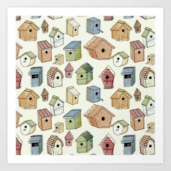 Bird Boxes Art Print