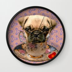 A little pug of tea Wall Clock