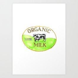 Cow Organic Milk Label Drawing Art Print