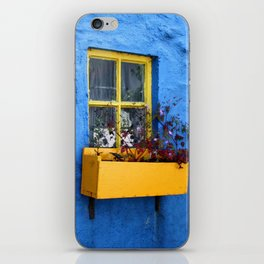 FLOWER - BOX - YELLOW - BLUE - WALL - PHOTOGRAPHY iPhone Skin