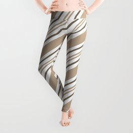 Pantone Hazelnut Nutmeg and White Thick and Thin Angled Lines - Stripes Leggings