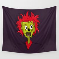 ginger Wall Tapestries featuring Ginger Zombie by Chelsea Herrick