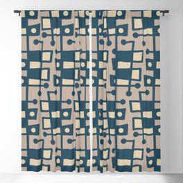 Mid Century Modern Abstract 212 Peacock Blue and Beige Blackout Curtain