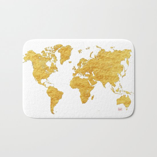 World Map Gold Vintage Bath Mat