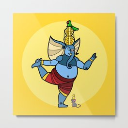 Ganesha Pot Dance Metal Print