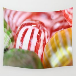 Macro of Stiped Hard Candy Wall Tapestry