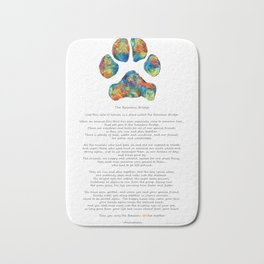 Rainbow Bridge Poem With Colorful Paw Print by Sharon Cummings Bath Mat