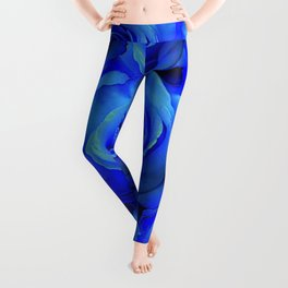 BLUE ROSE GARDEN & PINK PATTERN ART Leggings