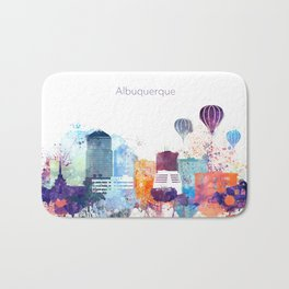 Colorful Albuquerque skyline design Bath Mat