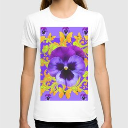 PURPLE PANSIES YELLOW BUTTERFLIES ABSTRACT FLORAL T-shirt