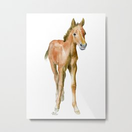 Watercolor Horse Painting Metal Print