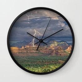 Lightning over Red Rock Wilderness Wall Clock