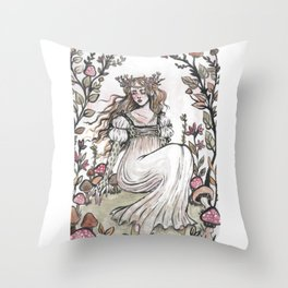 Fairy Ring Maiden Throw Pillow