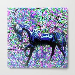 HORSE AND FLOWER PETALS OIL PAINTING Metal Print