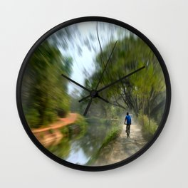Epic Shot Cycling The Canal Route In Kerala, India Wall Clock