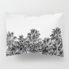 California Beach Vibes // Black and White Palm Trees Monotone Travel Photograph Pillow Sham