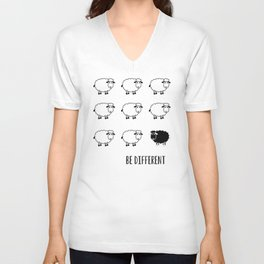 Typography Poster, Motivational, Be different, Black Sheep Unisex V-Neck