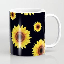 Sunflower Pattern on black background Coffee Mug