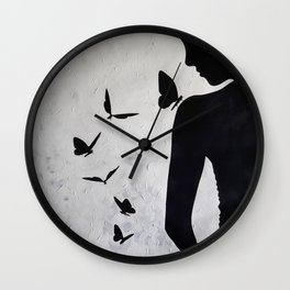 Lady with butterflies Wall Clock