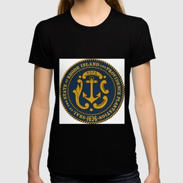 Rhode Island and Providence Plantations Hope and Anchor art portrait  T-shirt