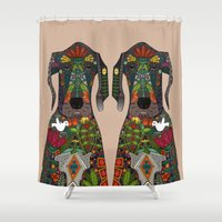 great dane Shower Curtains featuring Great Dane love beige by Sharon Turner