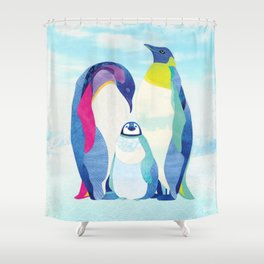 Shanti Sparrow: Peter, Wendy & Tink the Penguins Shower Curtain